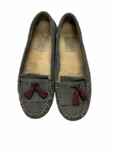 UGG Australia Lizzy Suede Moccasins Slippers Shoes Tassel 1005475 Gray S... - $36.79