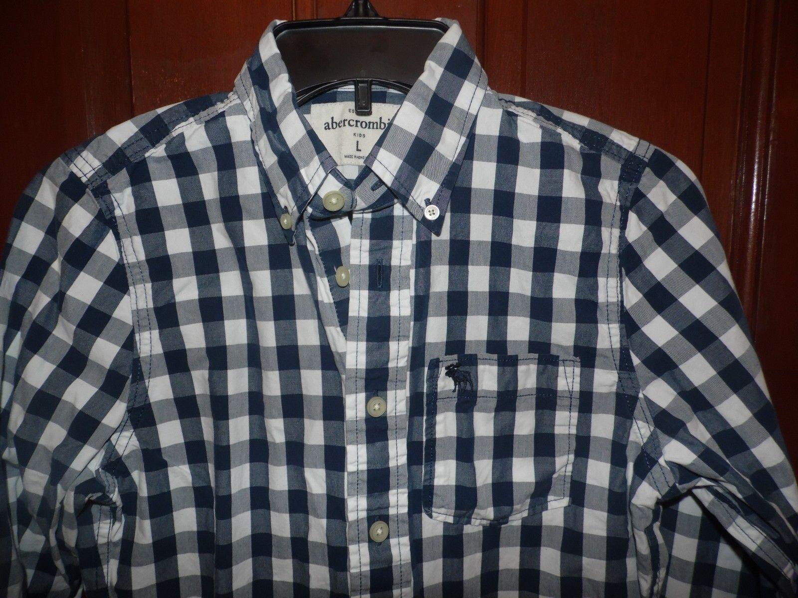 d0d0a5f8 Boy's Abercrombie Kids Muscle LS Button Down Blue White Checked Shirt Large  EUC