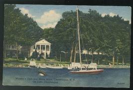 Lake Chautauqua NY Women's Club Sailboat 1947 Vintage Curteich Linen Pos... - $4.99