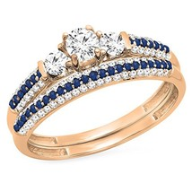 Three Stone Bridal Engagement Ring Set 14K Rose Fn Cz Diamond & Blue Sapphire - $95.99