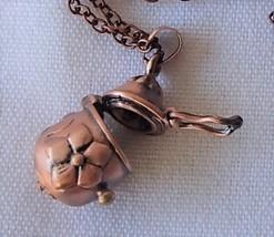 Antique Copper Finish Egg Shaped Keepsake Locket Necklace Treasure Praye... - $17.99