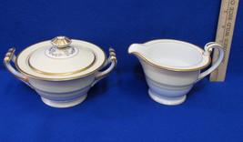 Set 2 Vintage Noritake China Creamer Sugar Bowl Lid Monterey Pattern Yellow Gold - $16.82
