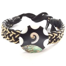 BLACK AND WHITE LEATHER WOVEN TIE ON FRIENDSHIP BRACELET WITH ABALONE SH... - $9.45