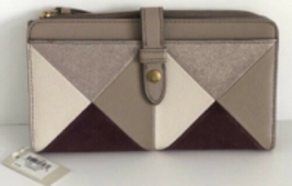 NEW Fossil Fiona Patchwork Leather and Suede Tab Wallet Champagne/ Gold ... - $36.00