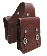 WESTERN HORSE SADDLE BAG OR MOTORCYCLE SADDLE BAGS HAND TOOLED BROWN LEA... - $76.95