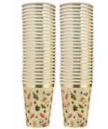 50 THANKSGIVING PARTY CUPS 9 OZ. DISPOSABLE PAPER CUP IN ELEGANT AUTUMN ... - $13.06