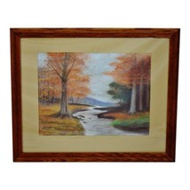 Vintage Framed Wooded Stream Landscape Pastel Drawing - Artist Signed - $295.00