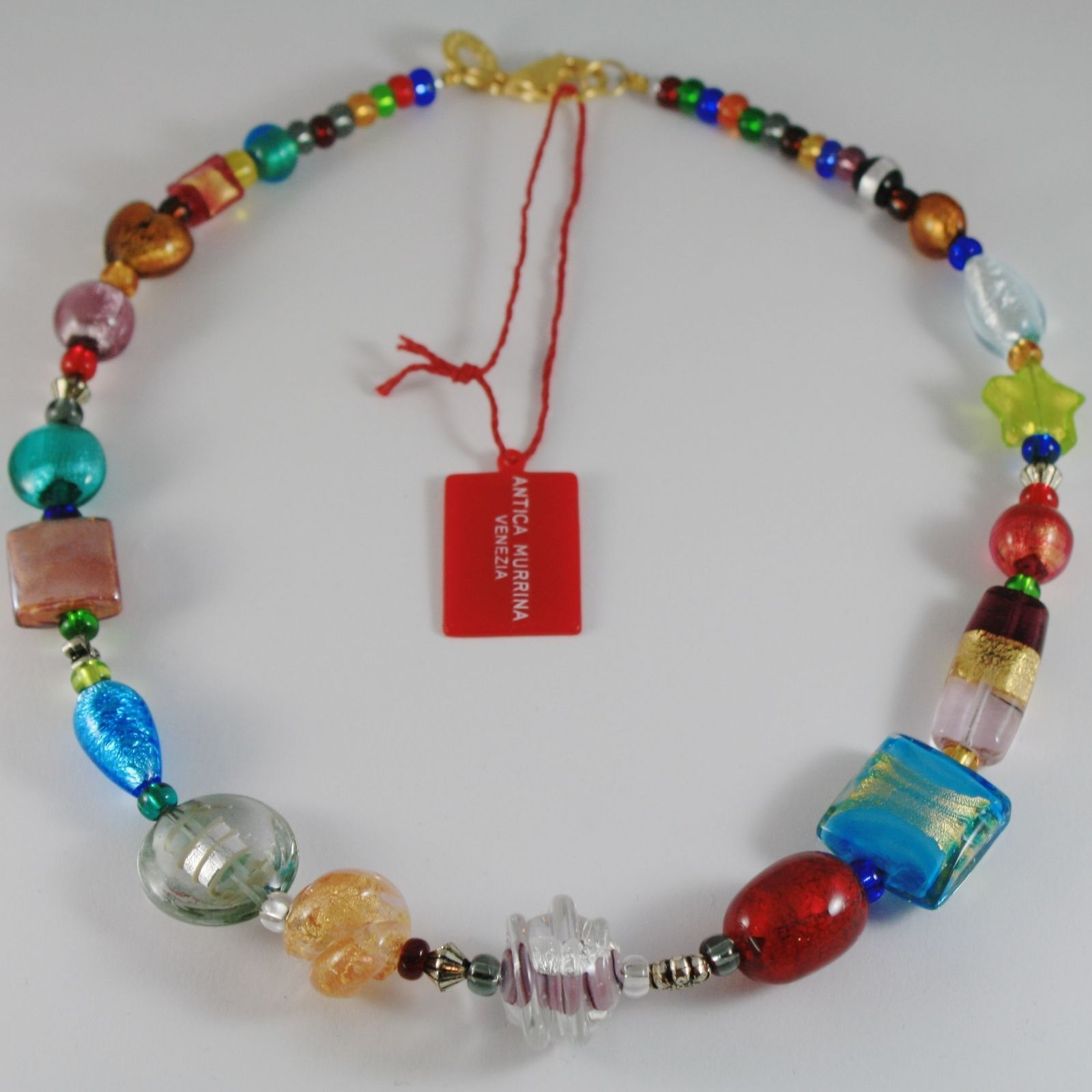 COLLAR ANTICA MURRINA VENEZIA CON CRISTAL DE MURANO MULTICOLOR LARGO 50 CM