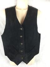 Arizona J EAN Co. Black Suede Leather Front Vest Back Plaid Elastic Fit Size S - $16.78