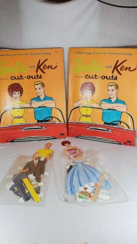 Primary image for Lot of 2 BARBIE AND KEN CUT OUTS WHITMAN MATTEL 1963 CLOTHES (bx)