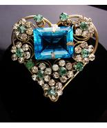 "HUGE Heart Brooch - baroque OOAK aquamarine glass - Vintage 3"" layered r... - $225.00"