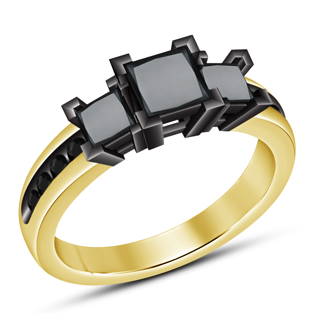 Primary image for Solid 925 Sterling Silver New Princess Cut Black Diamond Womens Engagement Ring