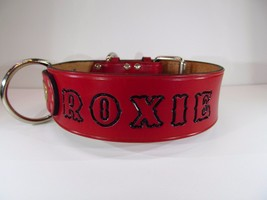 Personalized Dog Collar Red Leather and ID Nameplate 2 inches wide - $28.98+