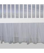 White Tulle Sparkle Beaded Ruffled Crib Skirt / Mini Crib Skirt - $41.99+