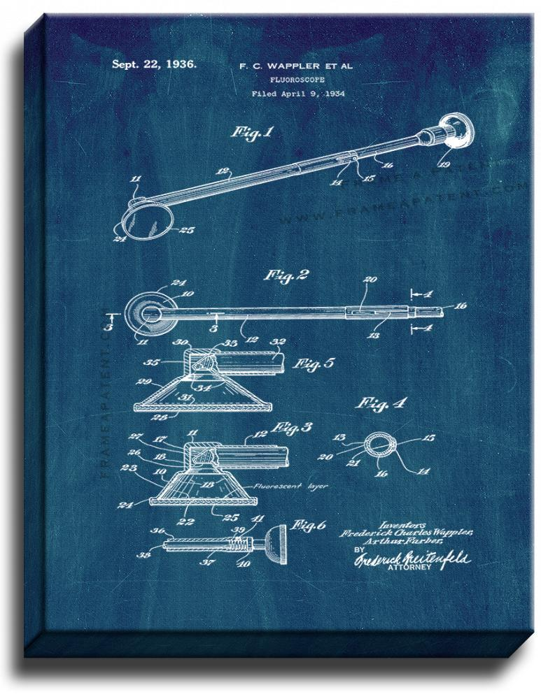 Primary image for Fluoroscope Patent Print Midnight Blue on Canvas