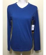 Lee T-Shirt Long Sleeve V-Neck Heathered Blue Large 14/16 - $17.81