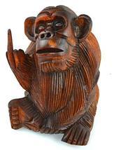6 Inch Rude Monkey Flipping The Bird Middle Finger Wooden Statue WorldBazzar Bra - $24.69