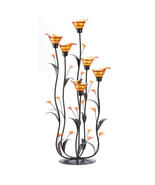 12793B  Amber Glass Cup Calla Lily Tree Iron Tea Light Candle Holder - $38.55
