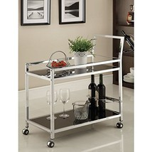 Chrome Metal with Black Tempered Glass Bar/ Tea Serving Cart - $223.99