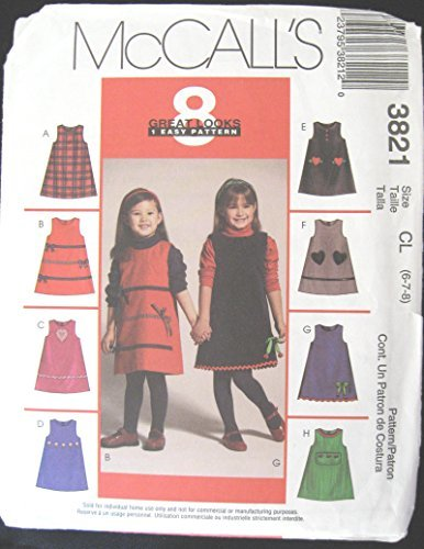Childs Girls Jumper Sewing Pattern McCall 3821 8 Great Looks 1 Easy Pattern (3-4 - $12.82