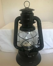 "11"" LED Lighted Metal & Glass Lantern with Handle - Black Colored Finish NEW image 1"