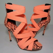 Jessica Simpson Size 7.5 M JYRA Neon Coral Heeled Sandals New Women's Shoes - $98.01