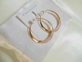 "Charter Club 2-1/8"" Gold Tone Pave Bottom Hoop Earrings H895 $44 - $14.39"