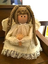 "Wood Angel with yarn hair, wings, and beautiful dress 7"" tall - $8.00"