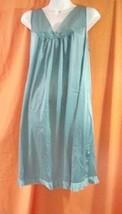 Vanity Fair Silky Nightgown size L Sleeveless V-Neck Sea Green Flower Ap... - $23.21