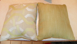 Pair of Green Beige Abstract Print Throw Pillows  10 x 10 - $29.95