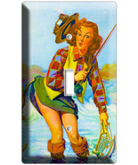 VINTAGE FISHING AD PINUP GIRL NEW SINGLE LIGHT SWITCH WALL PLATE ART DEC... - $8.99
