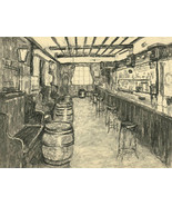 20th Century Charcoal Drawing - Bar Interior with Barrels - $38.04