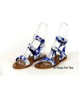 Jcrew Leila Tie-Dye Ankle-Wrap Sandals 6.5 A7919 Blue White Womens Flats... - $82.79