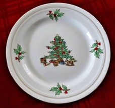 "CHRISTMAS SALAD PLATE TIENSHAN HOLIDAY HOSTESS 8.25"" Tree Gold Gilt Accent - $4.99"