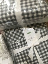 Pottery Barn Gingham Check Sheet Set Navy Blue Queen Cottage Chic Farmho... - $84.10