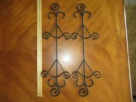 Pair of 2 Black Metal 2 Plate Vertical Display Wall Hanger Rack Holder 2... - $28.49