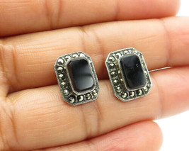 925 Sterling Silver - Vintage Black Onyx & Marcasite Square Stud Earring... - $25.82