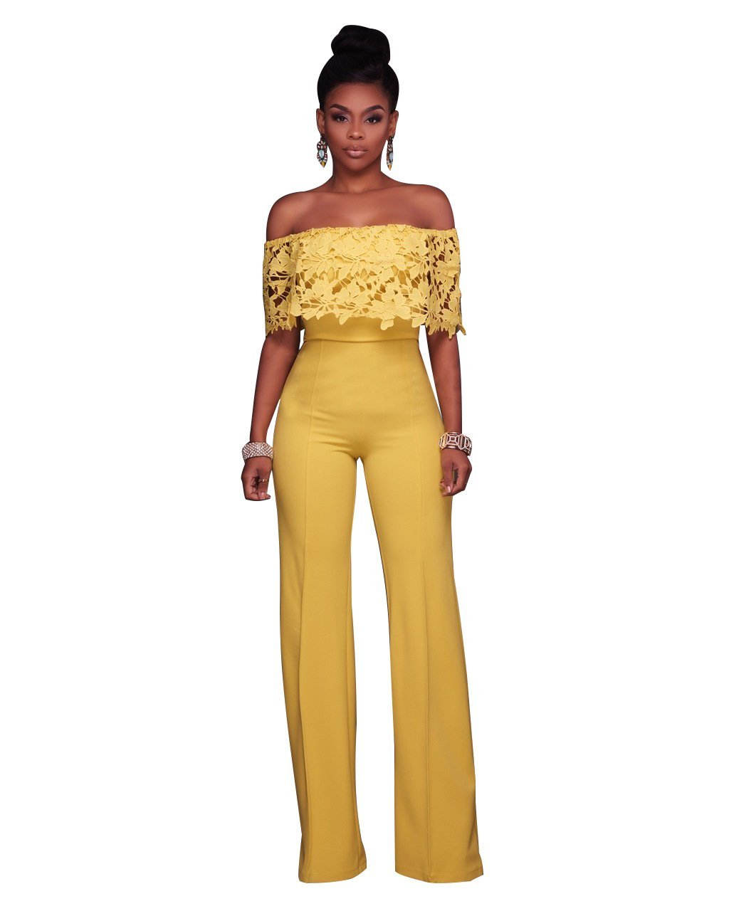 Solid Ruffle Flower Applique Off Shoulder Jumpsuit (Small, Yellow)