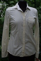 American Eagle Outfitters Favorite Shirt 4 Yellow Blue Pin Stripe Top AE Womens - $14.55