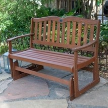 4-Ft Outdoor Loveseat Garden Bench Glider with Armrests in Natural Wood ... - $335.00
