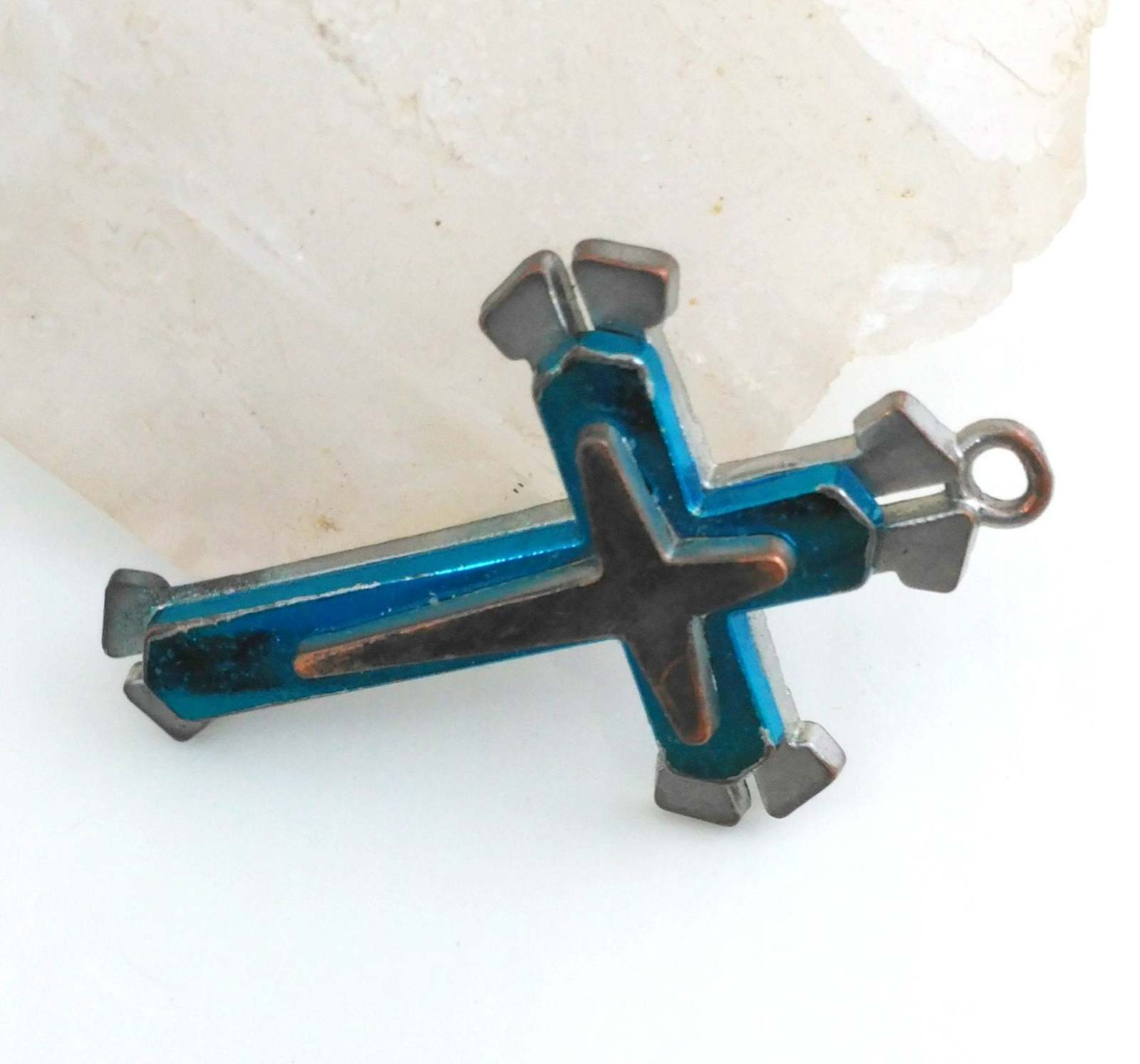 Primary image for Layered Cross Pendant Teal and copper over Silver Tone