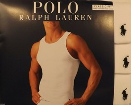 3 POLO RALPH LAUREN 100% COTTON WHITE TANKS T-SHIRTS UNDERSHIRTS S M L X... - $33.56+