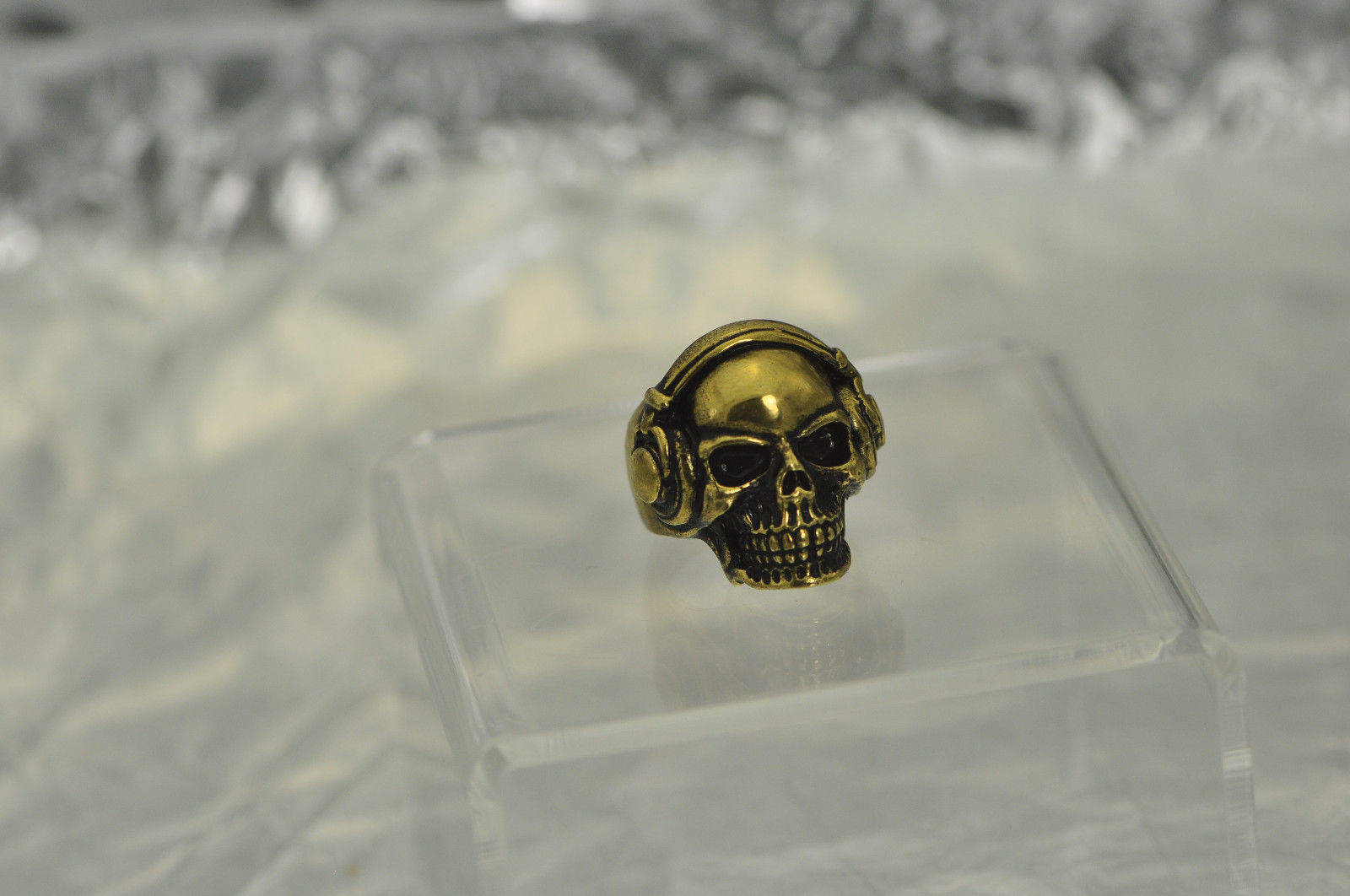 DJ Skull Ring Bass Beats Headphones 24K Gold Plated Black Effect Jewelry New