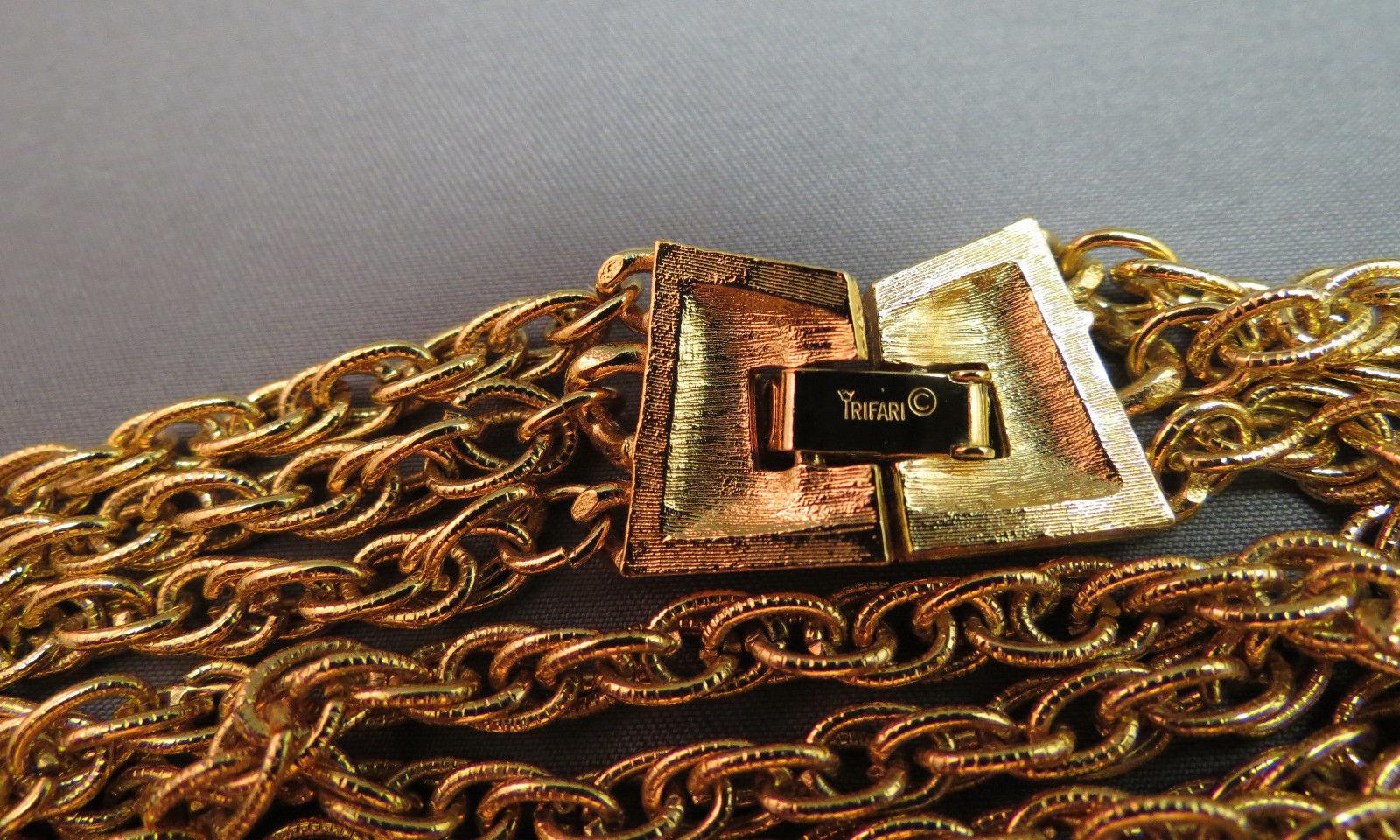 VTG Crown Trifari Necklace Mult Chain Gold Plate Couture Torsade Festoon NICE