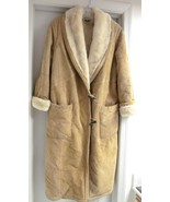 WINLIT Long Coat Suede Leather w Faux Shearling Lining 1969 Medium VINTAGE - $129.95