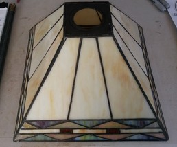 """7XX76 LAMP SHADE, LEADED STAINED PLASTIC: 10-1/2"""" SQUARE - 2-3/4"""" SQUARE... - $10.66"""
