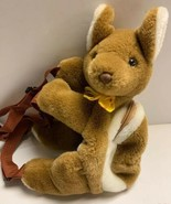 "Kids Kangaroo Plush Backpack Bag Made In Australia Souvenir 14""x14"" Brown - $20.19"