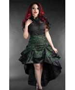 Green Black Brocade Ruffle Trim Corset Back Long 3 Layer Victorian Goth ... - $65.51