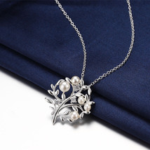 Platinum Sterling Silver Sapphire & Mother of Pearl Tree of Life Halo Ne... - $11.75