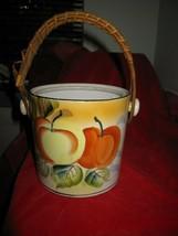 Vintage Japanese Hand Painted Fruit Biscuit Jar Bucket Bamboo Handle - $14.85